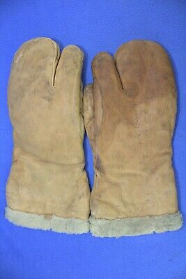 USAAF Type A-9A Gunners Flight Mittens Gloves Fleece & Leather 1944