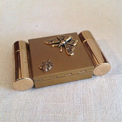 Goldtone Compact With A Perfume And A Lipstick Holder Included, Stunning Design