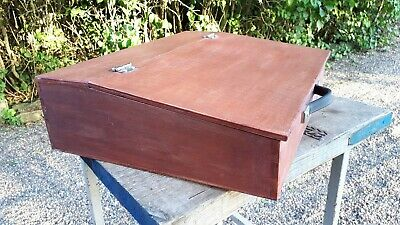 Vintage Wooden Writing Slope Box Case with handle