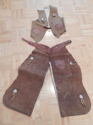 VINTAGE COWBOY COWGIRL CHAPS + VEST CHILD'S LEATHER STUDS WESTERN 40s MKR MARKED