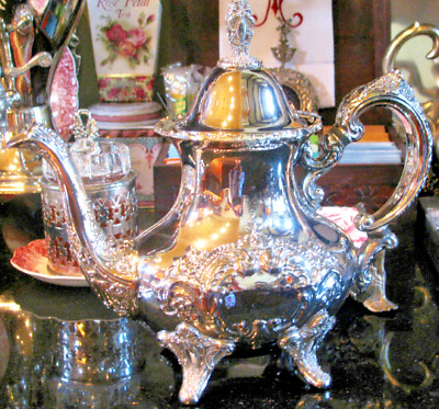 Gorgeous old TOWLE SILVER TEAPOT Victorian cameo swan spout footed hinged lid