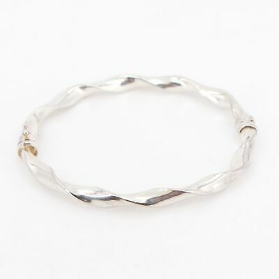 "Sterling Silver - ITALY Solid Twisted Rope 7"" Hinge Bangle Bracelet - 10g"