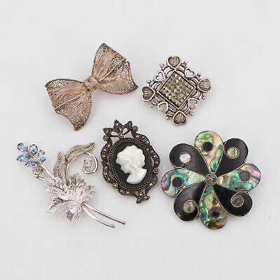 VTG Sterling Silver - Lot of 5 Assorted Brooch Pins NOT SCRAP - 26.5g