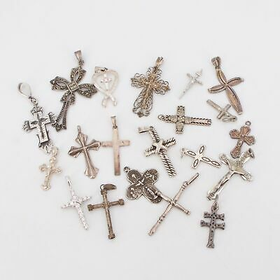VTG Sterling Silver - Lot of 20 Assorted Cross Necklace Pendants NOT SCRAP - 39g