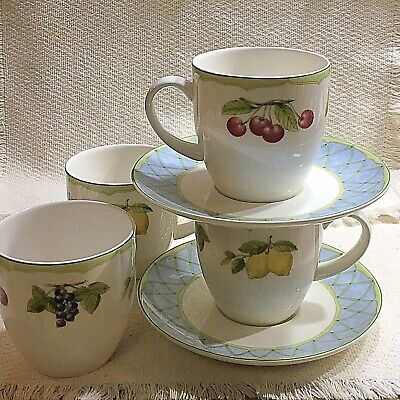 Mikasa Optima Fruit Rapture Set Of Four (4) Tea Cups/Mugs And Saucers