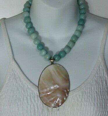 """Large Mother of Pearl Shell Pendant Larimar Beads Chunky Necklace 18"""""""