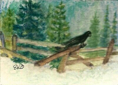 ACEO MINIATURE Original Watercolor Artist Card by Eileen Winter Snow Trees Raven