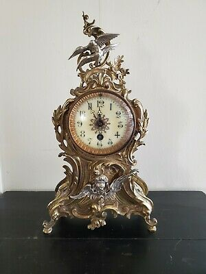 Splendid French Antique Heavy Solid Dore Bronze And Silver Clock 19Th C