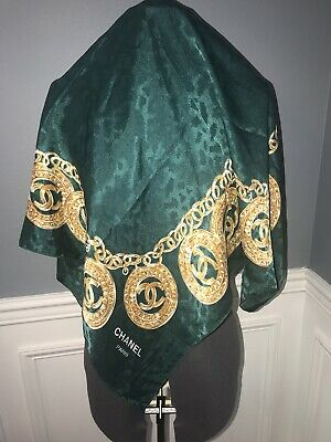 """Chanel Paris Vintage Silk Scarf Dark Green and Gold Ring Color 34""""X 34""""."""