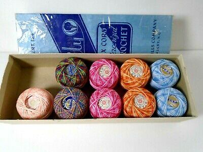 Vintage Crochet Thread Multi Color 9 rolls in Box Variegated Six Cord