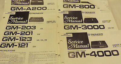 PIONEER SERVICE MANUALS CAR STEREO GM-A200 203 800 3000 4000 4211 plus more