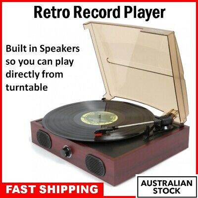 Retro Turntable Vinyl Record Player Music with Built In Speakers FREE SHIPPING