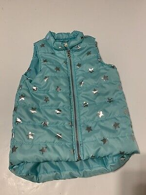 One Step Up Girls Blue Stars⭐️ Puffer Vest Zip Up Front Size Small 7/8 EUC