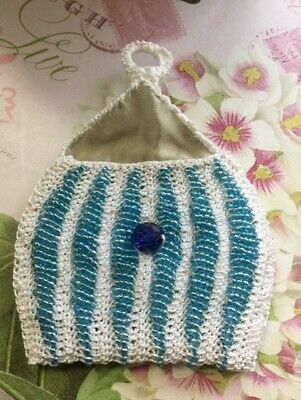 Vintage Hand Crocheted and Beaded Cocktail Coin Purse Fully Lined