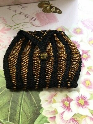 Vintage Hand Crocheted and Beaded Gold on Black Cocktail Coin Purse Fully Lined