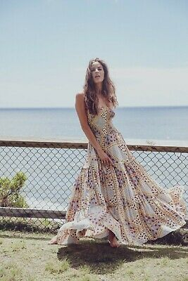 🌻 Jaase 🌻 Boho Floral Gypsy Maxi Dress XS 6 8 10 Peasant 70s Vintage Festival