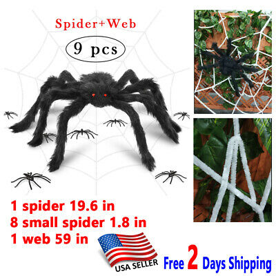 Halloween Spider Web 19.6 in Giant Realistic Hairy Spiders Decor Props Outdoor