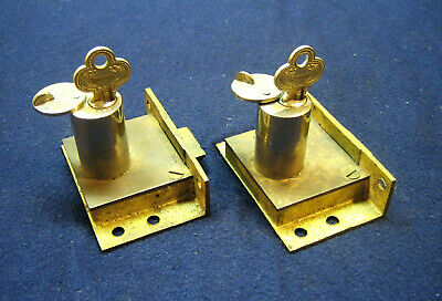 Antique Victorian Brass Case Chest Half Mortise Key Lock Russell & Erwin Russwin