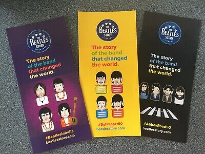 Set Of 3 The Beatles Story Liverpool Promo Flyers  Sgt Peppers India Abbey Road