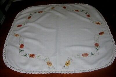 Vintage Hand Embroidered Supper Cloth~Orange Flowers~Cream~Linen~Lace Edged