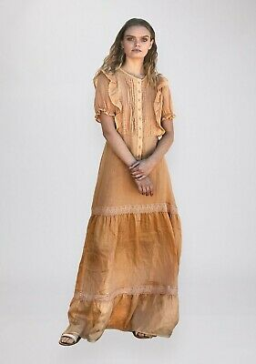 🌻 Ministry of Style 🌻 Boho Embroidered Linen Maxi Dress XL 16 PLUS Prairie MOS