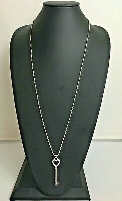 """Tiffany & Co Sterling Silver 2"""" Key Pendant Long Dog Tag Chain Necklace 34"""""""