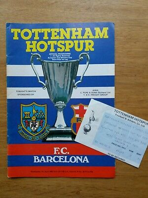 1982 ECWC Semi Final Programme & Ticket - Tottenham / Spurs vs Barcelona