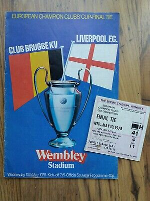 1978 European Cup Final Programme & RARE Ticket - Liverpool vs Club Brugge