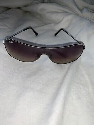 RAY BAN Mens Womens 1990 Designer Sunglasses Silver Shield