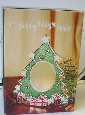 "Holiday Christmas TREE Tea Light Holder Green Cast METAL Frosted Window 6"" NEW"