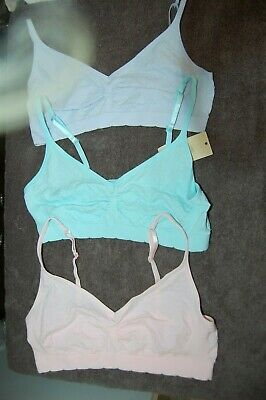 M&S 3 Seamfree Bras Pull On Pink, Lilac, Aqua Age 12-14 Years BNWT
