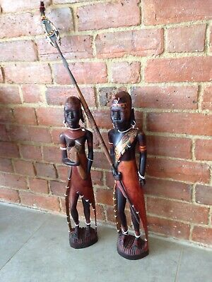 Antique Pair Of African Warriors Tribal Weapon Art Spear Beads Large Nude Ethno