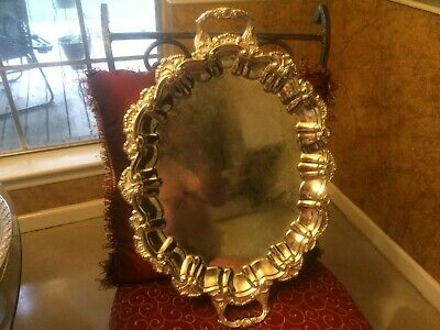 """large vintage silver plated footed waiters tray 16"""" x 23"""""""