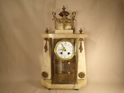 Antique French Onyx Bronze Ormolu Wind Up Mantle Clock Crystal Regulator