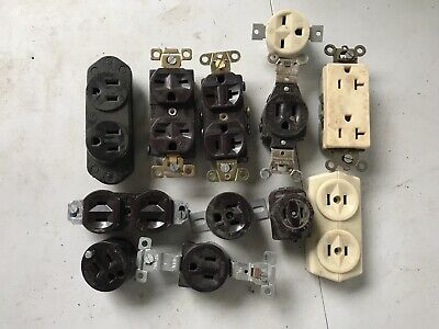 Lot of 12 Vintage BAKELITE Receptacles Hubbell Leviton Eagle NEW old stock