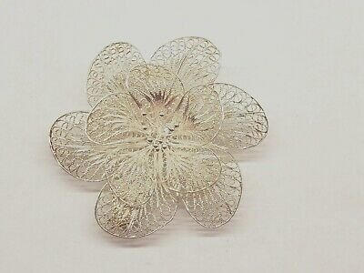 Vintage Sterling Silver Art Nouveau Flower Filigree Pin Brooche * 7.7 Grams*