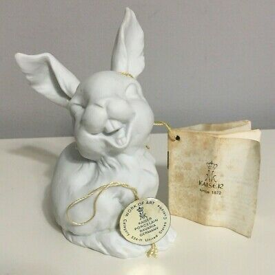 KAISER Laughing Rabbit White Bisque Porcelain Figurine Hare Germany 2 Hang Tags