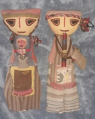 Vintage hand made? Large Hard straw dolls - Native? Swedish?  Or others Look :)