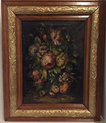 Antique Victorian Roses Floral Dark Oil Painting 1880 Stretched Canvas Signed