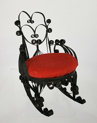 Vintage Black Metal Rocking Chair with Red Pin Cushion Seat Sewing Collectible