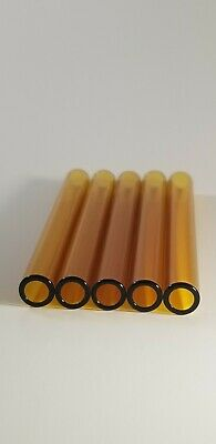 "4"" Glass Pyrex Blowing Amber 5 Tubes 10mm OD 8mm ID Tubing 1mm Wall"