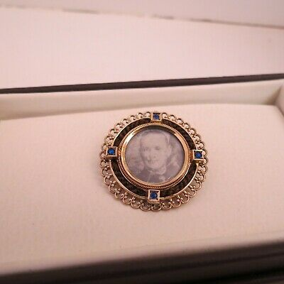 Antique Victorian/Edwardian mourning gold plated brooch