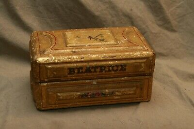 """Antique Hand Painted Guild Decorated Folk Art Box Signed """"BEATRICE"""" Paint Losses"""