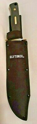 """Large Schrade Old Timer Bowie Hunting Knife w/Sheath 15"""" Full Tang Brass Rivets"""