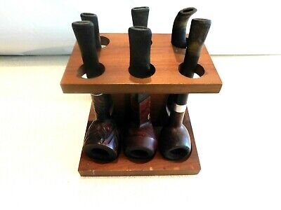 Wooden (6) Pipe Holder w/ (6) Pipes Included