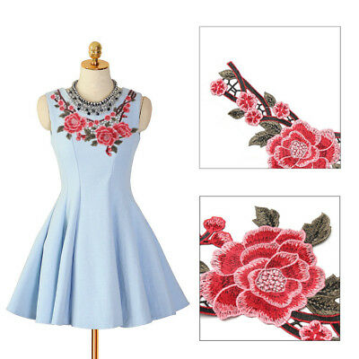 DIY Lace Embroidered Floral Neckline Patch Collar Trim Clothes Sewing Applique