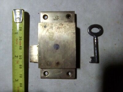 cupboard lock, surface mounted, 76 mm, brass, vintage(Ca1)