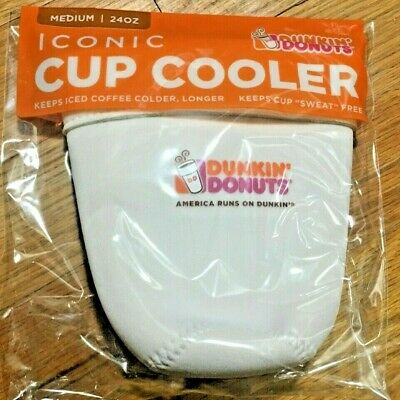 Dunkin Donuts Iconic Cup Cooler Koozie MEDIUM 24 oz. Ounce White New