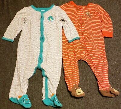 "PAJAMAS SIZE NEWBORN NWT CARTER'S BABY BOY ""HAVING A BLAST"" FOOTED  1pc"