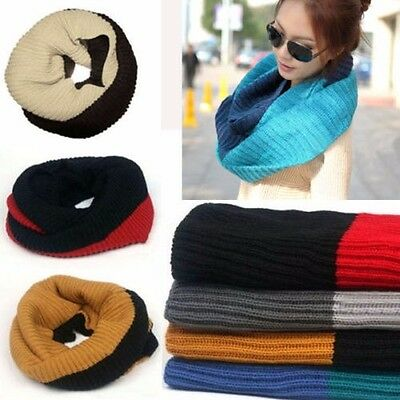 Women Warm Winter Infinity 2 Circle Cable Knit Wool Neck Long Scarf Wrap Shawl